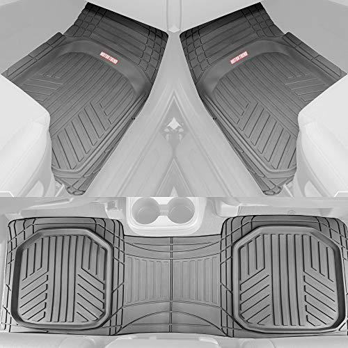 Motor Trend FlexTough Plus Gray Rubber Car Floor Mats - All Weather Deep Dish Automotive Floor Mats, Heavy Duty Trim to Fit Design, Odorless Floor Mat Liners for Cars Truck Van SUV