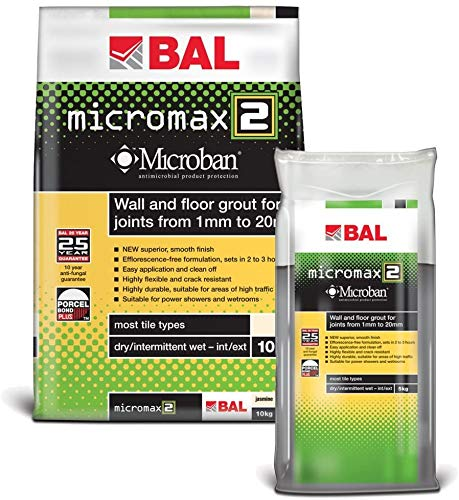 BAL Micromax2 Anti Mould/Bacteria Tile Grout for Walls & Floors 5kg White