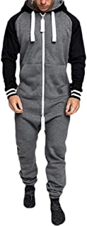 Mens Fashion Tracksuit Set Sweatshirt Jogger Sweatpants Solid Patchwork Warm Sports Suit