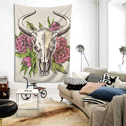 RTBB - Tapiz de pared con diseño de calaveras de vaca y toro, diseño de calaveras en 3D, 80 x 60 pulgadas