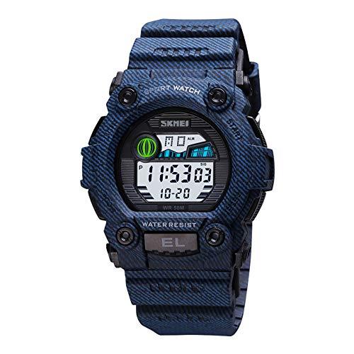 Flytise Reloj Deportivo Digital para niños Hora Fecha Semana Pantalla Reloj Despertador Retroiluminación 5ATM Impermeable Estudiantes Relojes de Moda Adolescentes Pulsera para la v Diaria al Aire