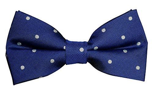 Fliege Blau für Herren | Fliege mit Punkten aus Seide | Bow Tie | Dunkelblaue Schleife gepunktet | vorgebunden und verstellbar - Deutsche Standard Größe inklusive hochwertiger Geschenkbox