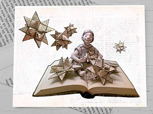 Weihnachtskarte, Klappkarte für Bücher liebende Leseratten - 4