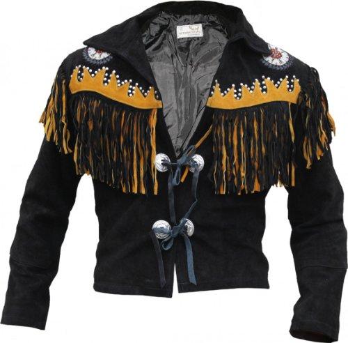 Westernjacke Reiter Jacke Western-Lederjacke Indianer Tracht Schwarz, Größe:50