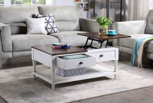 LEEKOUS Elegant Wood Lift Top Coffee Table, Best Lift Coffee Table, Center Tables, Cocktail End Table with 1 Storage Drawer and Shelf for Living Room, Home Office (White)