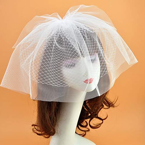 Haptian Chapeau de Voile de Couleur Unie Fascinator pour Femme Mariage Deux Couches Résilles Pinces à Cheveux Mesh Accessoires pour la Photographie Cocktail Couvre-Chef Noir/Blanc(blanc-1pièce)