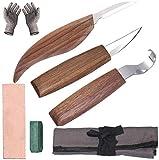 Lot de 7 outils de sculpture en bois avec crochet en acier au manganèse et sac de rangement
