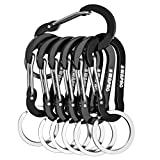 WAPAG Carabiner Clip, 2 inch Small Carabiner, Aluminum Mini Carabiner for Keys, Small Items, Daily Life, Camping, Hiking, Running (7Black)