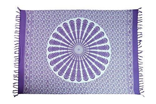 Ciffre Sarong Pareo Wickelrock Strandtuch Tuch Schal Wickelkleid Strandkleid Blickdicht Mandala Yoga Lila