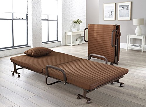 Vesgantti Folding Away Guest Single Beds with Mattresses Foldable Lounge Chair with Adjustable Backrest and Free Pillow