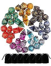 Beetust 49 Piezas Dados de rol D&D, Dado Poliédrico y de rol de Juegos para Dungeons & Dragons con 7 Piezas de Bolsos, 7 Sets de RPG DND MTG D4/D6/D8/D10(0-9 y 00-90)/D12/D20