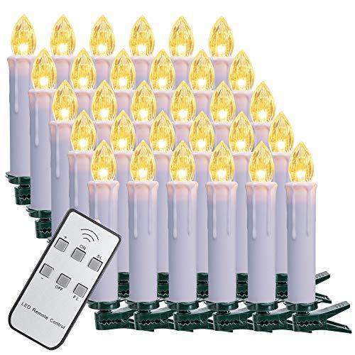 SZILBZ 30Stk Weihnachten LED Kerzen Lichterkette Weihnachtsbaumkerzen weihnachtskerzen Christbaumkerzen mit Fernbedienung Kabellos Weisse Hülle