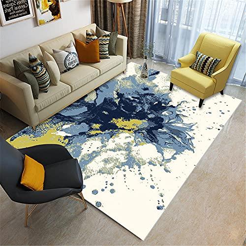 Teppiche kinderzimmer Teppich Jungen Graffiti-Blumenmuster-Wohnzimmerteppich der blauen gelben weißen abstrakten Tinte Wohnzimmer Kamin Teppich deko mädchenzimmer 60*90cm
