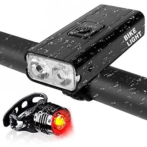 GQFDBS LED Fahrradlicht Set, USB Wiederaufladbare Frontlicht und Rücklicht, 1000 Lumen Fahrradbeleuchtung, IPX5 Wasserdicht, 3 Licht-Modi Fahrradlampe, für Radfahren, Camping usw. (Schwarz)