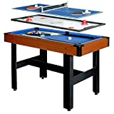 Hathaway BG1131M Triad 3-in-1 48-in Multi Game Table with Pool, Glide Hockey, and Table Tennis for Family Game...