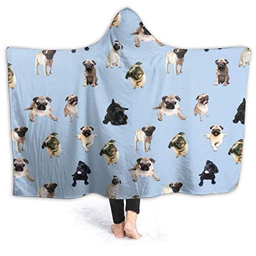 Groefod Weiß Schwarz Mops Decke Thema Übergroße Sherpa Flanell Wurf Tragbare Decken Hoodie Umhang für Kinder