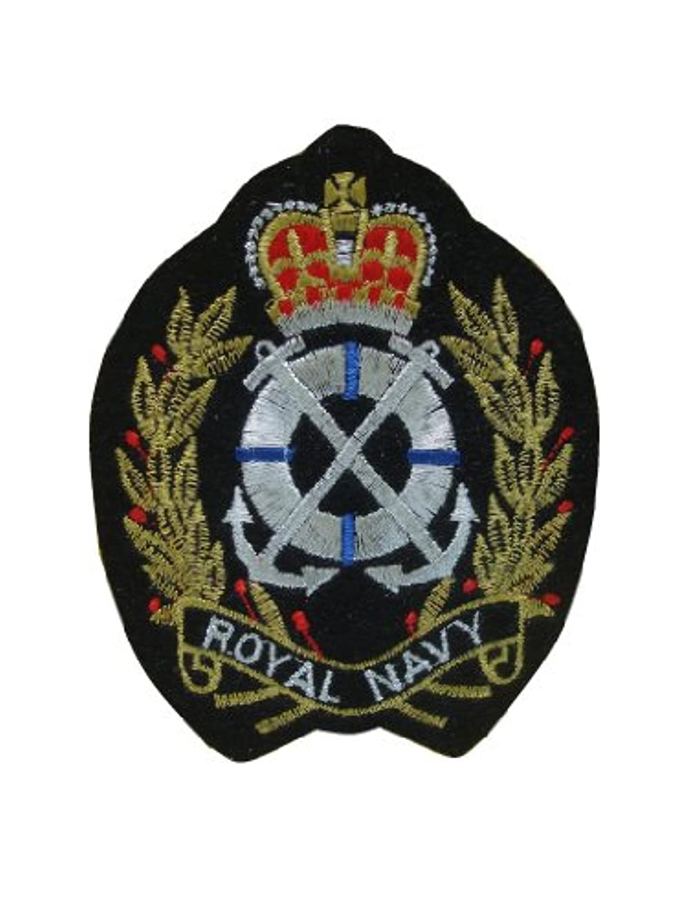 ROYAL NAVY CREST EMBLEM Iron On Patch Embroidered Nautical Motif Biker Applique Heraldic Insignia Badge Decal 3.8 x 3 inches (9.5 x 7.5 cm)
