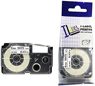LM Tapes - Casio KL-7200 6mm Black on White Compatible Label Tape for Casio KL7200 EZ Label Printer