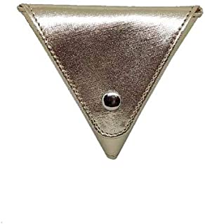 JL Collections Gold PU Triangle Shape with Two Side Button Closure Coin Pouch