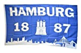 Fahne / Flagge Hamburg 1887 Silhouette + gratis Sticker, Flaggenfritze®