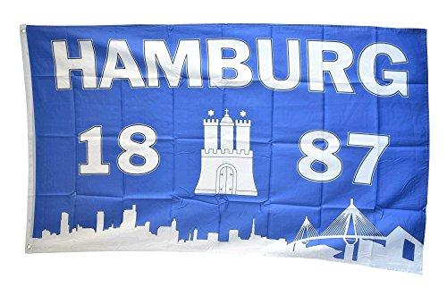 Flaggenfritze Fahne/Flagge Hamburg 1887 Silhouette + gratis Sticker