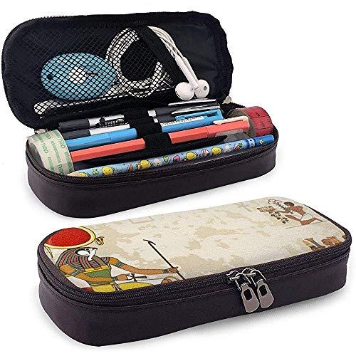 Ancient Egypt Banner (1) Pu-Leder Federmäppchen Tasche mit Reißverschluss Cute Pen Federmäppchen Box Briefpapier Box