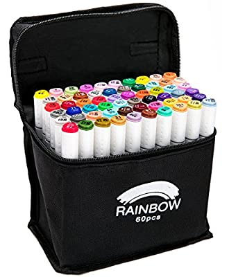 RAINBOW - Premium Dual Tip Brush Pens - New Innovative Design - Water Based Ink - Set of 12, 24, 36 Unique Colors - Great For Coloring, Drawing, Sketching