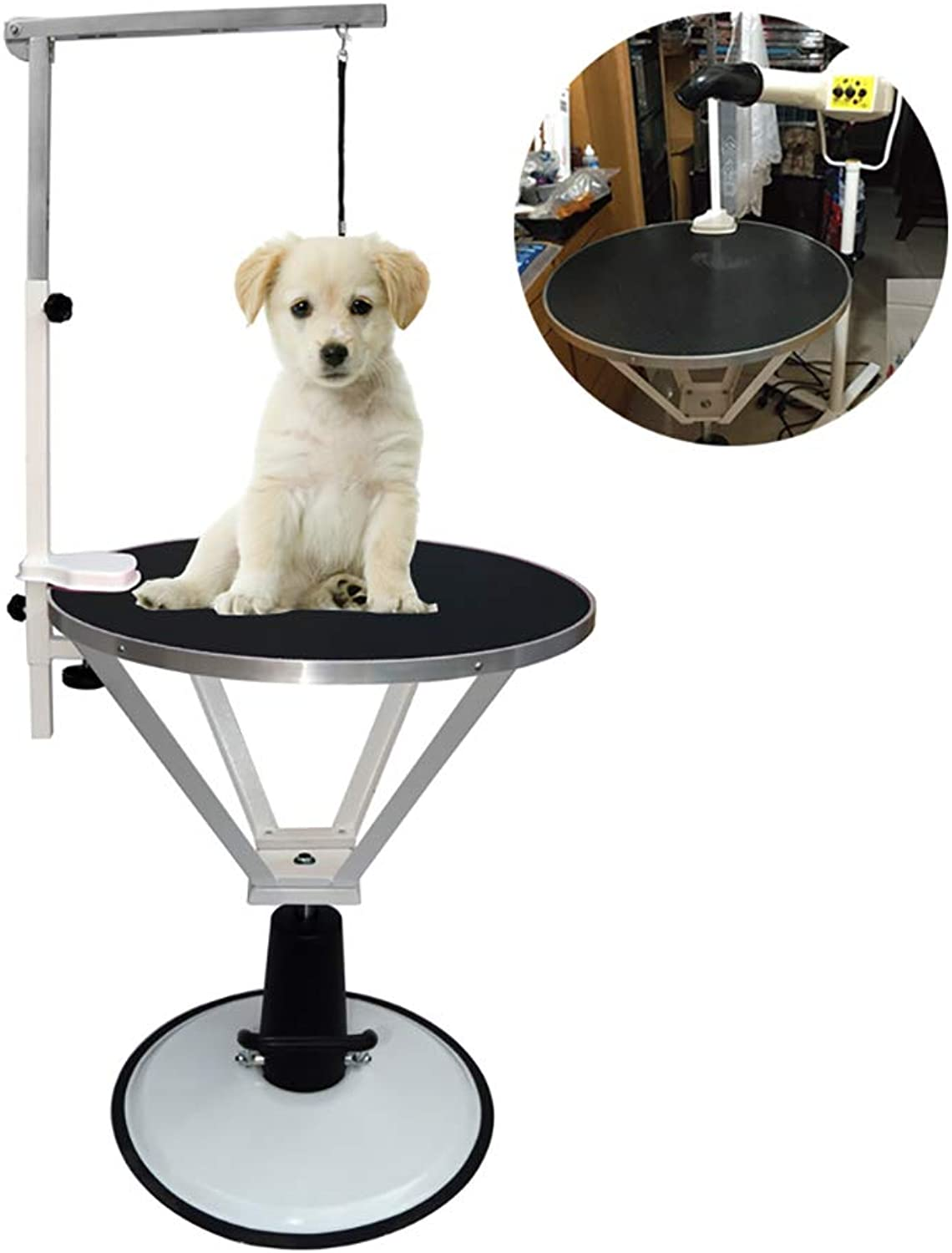 DJLOOKK Pet Grooming Table Professional Adjustable Hydraulic Pump For Medium Small Dogs,Black