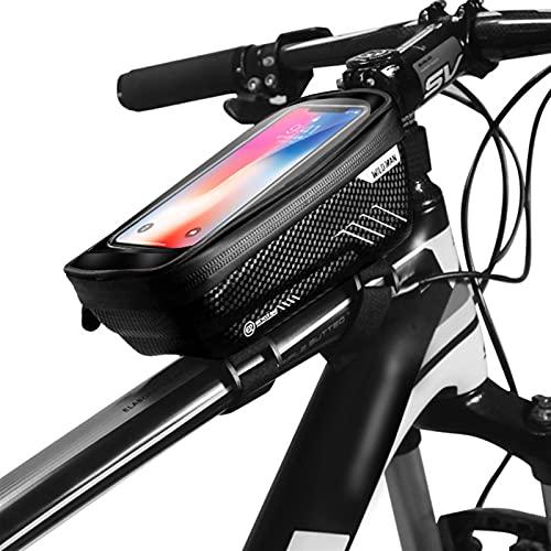 ZHIER Borsa per Bici a Tubo Superiore, Touch Screen Pioggia PILECE BIGH TELEFON Telaio per 6.5IN Custodia per Cellulare Bicycle Phone Block Accessori (Color : Black)