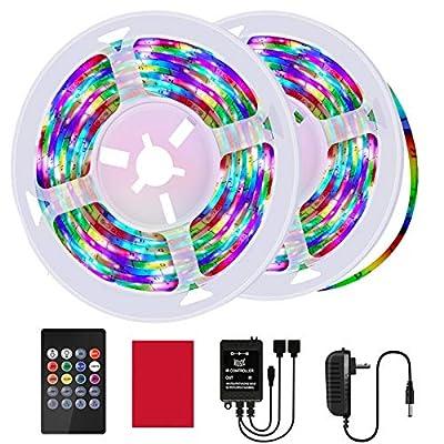 HRDJ Led Strip Lights 32.8 Feet Led Light Strip Music Sync Color Changing Rope Lights SMD 3528 Led Lights for Bedroom