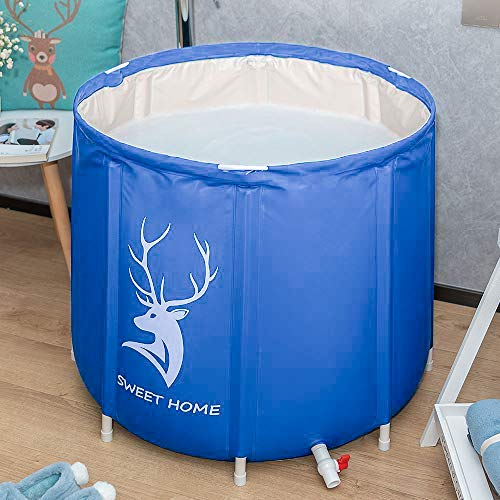 KELIXU Portable Bathtub, Foldable Soaking Bathing Tub for Freestanding Shower Stall, Thickened Thermal Foam to Keep Temperature for Spa Hot Ice bath, Blue
