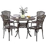 Kinger Home 5-Piece Cast Aluminum Patio Dining Set w/ 4 Chairs, Umbrella Hole, Lattice Weave Design - Brown