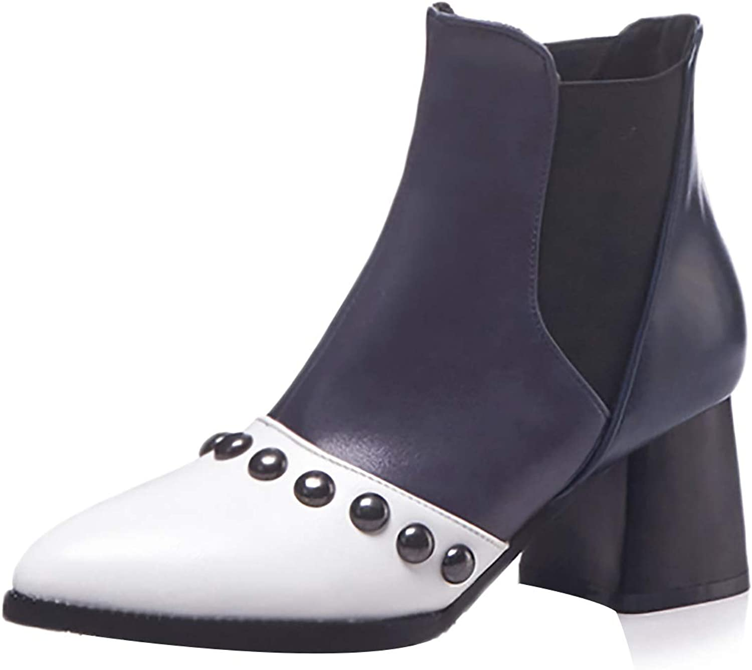 Jushee Womens Juinten 6 cm mid-Heel Ankle Pull-on Patent-Leather Boots