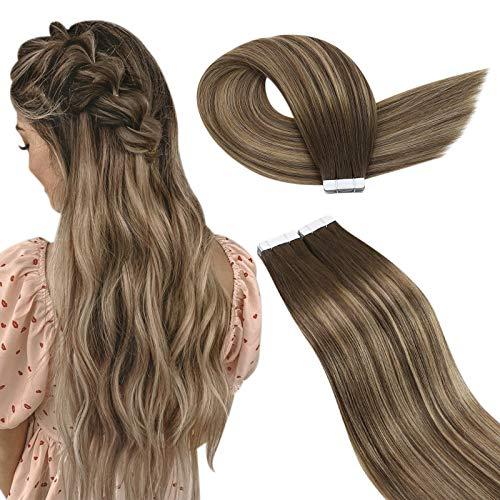 Ugeat Extension Biadesive Capelli Veri Tape in Hair Extensions 22Pollice/55cm Extension Adesive Capelli Veri Biadesivo #4/27/4 Marrone Scuro Balayage Ombre Biondo Caramello 2.5g/PCS 40PCS