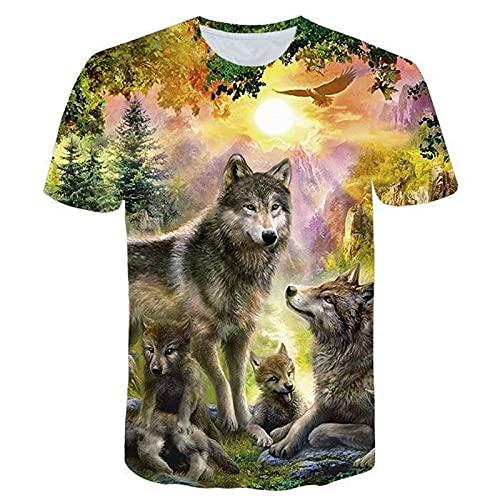 SSBZYES Camiseta para Hombre Camiseta De Verano para Hombre Camiseta De Manga Corta Camiseta De Gran Tamaño Moda De Manga Corta Suelta Moda Patrón De Lobo Camiseta De Manga Corta para Hombre Casual