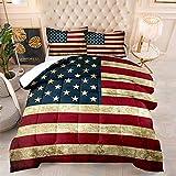 American Flag Comforter Set Full Size 3 Piece Star-Spangled Banner Retro Stripe Bedding Set, 1 Comforter + 2 Pillow Shams
