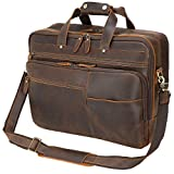 Large Leather Business Briefcase for Men 18' Full Grain Leather Laptop Case Messenger Bag Fits 17.3' Laptop
