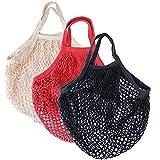 BUONDAC 3 Stücke / 3 Farben Einkaufsnetz Netztasche Baumwolle wiederverwendbar Einkaufstasche Netz Obstbeutel Organizer für Einkaufen, Strand, Obst, Gemüse,...