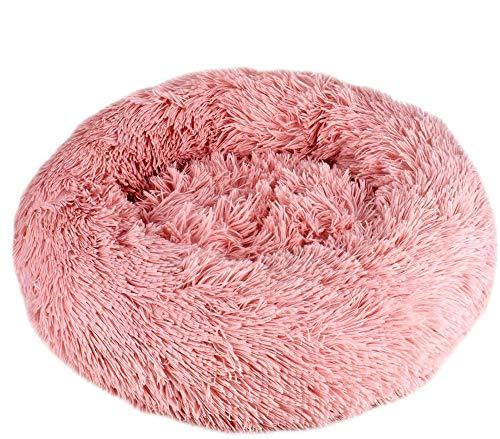 Queta Deluxe-Haustierbett,für Katzen und kleine bis mittelgroße Hunde,Leicht zu reinigen,Bett für Haustiere in Doughnut-Form (Pink)