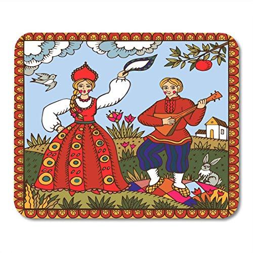 N\A Alfombrillas de ratón Baile Tradicional Ruso Baile de Mujer y Hombre Alfombrilla de ratón para portátiles, Alfombrillas de Escritorio Material de Oficina