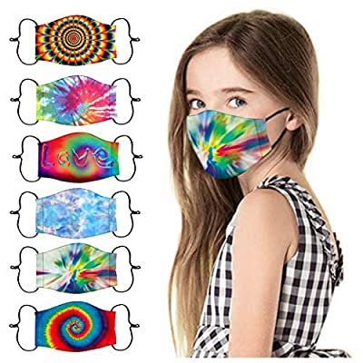 ORT Reusable and Breathable,Children Kids 6PC Dyed Cloth Printed Mouth Face Coverings,Anti-Haze Dustproof Cotton Face_Masks Washable Face Guards,Half Face Protections for Outdoor Activities