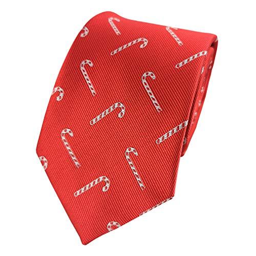 KOOELLE Herren-Krawatte mit weihnachtlichem Jacquard-Muster - Rot - Standard