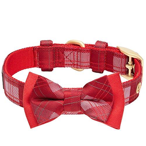 Blueberry Pet Luxuriöses Weihnachtsfest Tartan Karo Hundehalsband mit Abnehmbarer Fliege, S, Hals 23cm-32cm, Verstellbare Halsbänder für Hunde