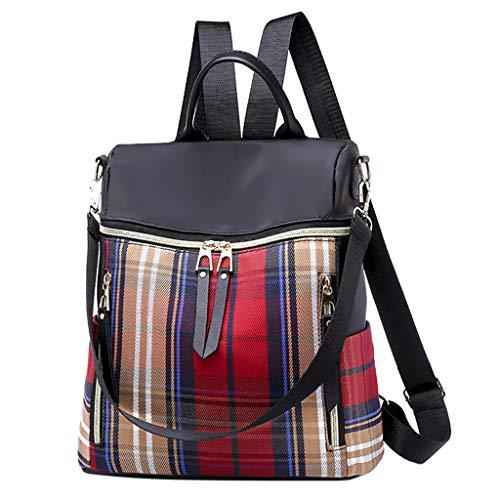 FBGood Unisex Paar Mode Plaid Rucksack Große Kapazität Wasserdicht Schulrucksack Reisetasche Diebstahlsicherung Nylon Daypacks Handtasche Freizeit Umhängetasche Schulranzen