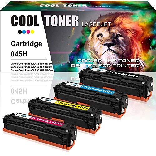 Cool Toner Compatible Toner Cartridge Replaces for Canon 045 045H Cartridge 045 Canon MF634cdw MF632cdw Canon ImageCLASS MF634cdw MF632cdw LBP612cdw Toner Ink Printer (Black Cyan Magenta Yellow,4PK)