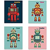 SIGNWIN Set of 4 Prints Unframed Poster Cartoon Robots Wall Art Photos for Bedroom Kids Room - 8'x10'x4 Panels
