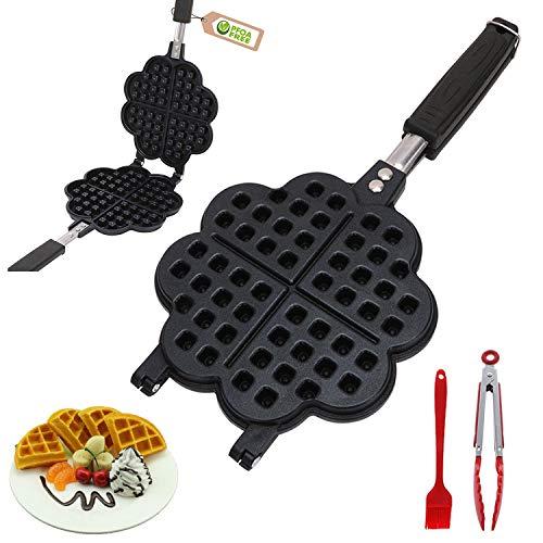 Waffelautomat für klassische Herzchen-Waffeln | Waffeleisen Belgische Waffel | Waffelmaschine für Herzwaffeln (Waffelneisen) | Mini Waffle Maker Party-Desserts