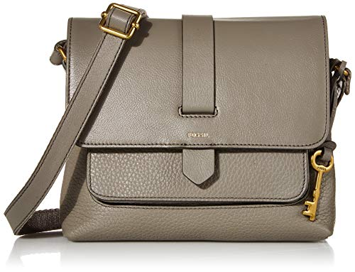 "Fossil Women's Kinley Leather Small Crossbody Handbag, Grey,8.63""L x 2.5""W x 7""H"