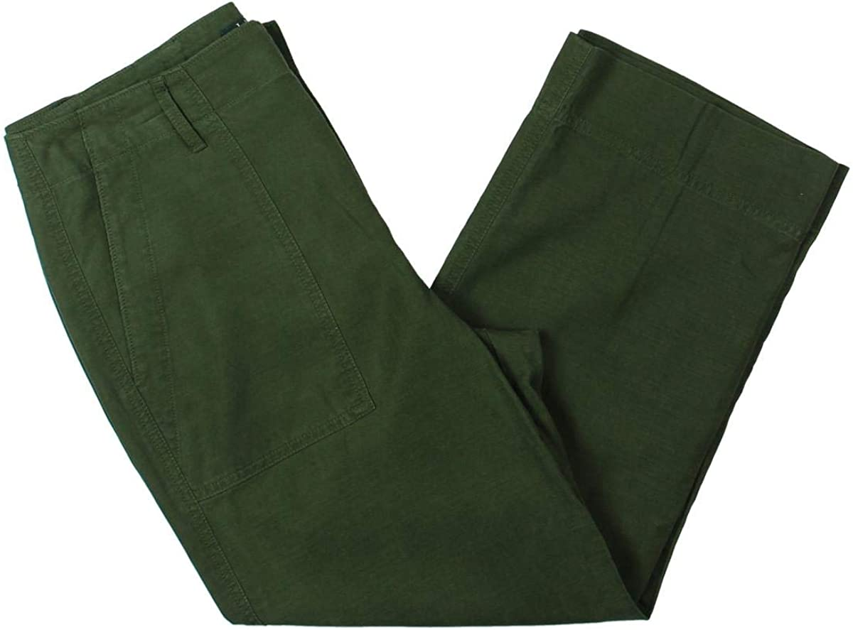 LAUREN RALPH LAUREN Womens Nyusha Twill High Rise Straight Leg Pants Green 12