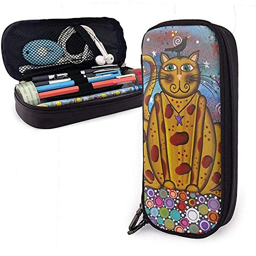 Cat Bird PU Leather Pen Pen Bag 20 * 9 * 4 cm (8X3.5X1.5 Inches) Pouch Case Holder College Coin Purse Cosmetic Bag